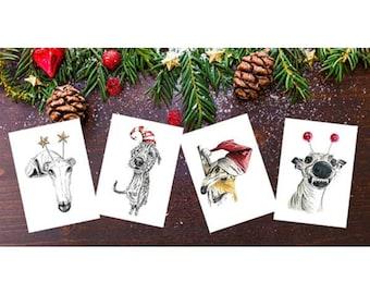 Dog Greeting Card, Dog Holiday Card, Dog Card, Whippet Card, Greyhound Card, Sighthound Card, Dog Christmas Card, Christmas Card