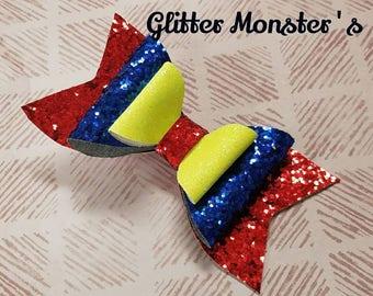 Snow White Inspired Glitter Bow, Snow White Bow, Princess Bow, Glitter Snow White Bow, Snow White Hair Clip, Princess Snow White Headband