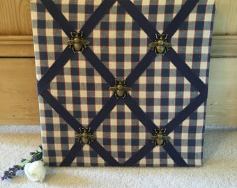 Memo Board with Checked Fabric and Bumble Bee Embellishments