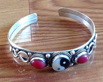 Ethnic Coral Ying Yang Cuff Bracelet