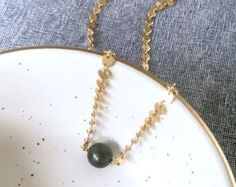 Tahitian Pearl Gold Filled Choker, Disk Chain Choker, Emmi Necklace