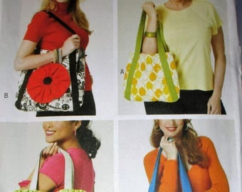 "Butterick pattern, B5766, market totes, grocery bags, variations of market bag, appliqued , sz: 14"" X 12"", 16"" X 15"", 10"" X 10"", 13"" X 12"""