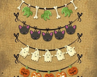 50% OFF Halloween Banners Clipart - Halloween Download - Instant Download - Repeatable Halloween Bunting