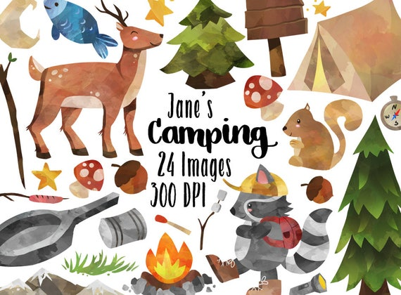 Watercolor Camping Clipart Supplies Download
