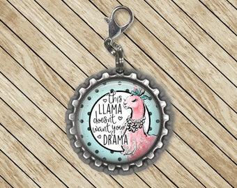 Lanyard Charm, Drama Llama, Zipper Charm, Zipper Pull, Purse Charm, Planner Charm, Phone Charm, Badge Reel Charm, Cute Charms