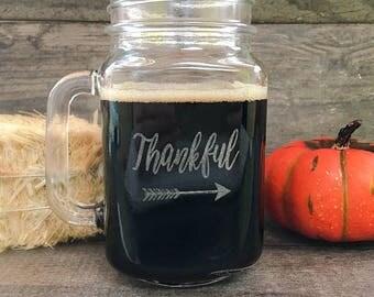 Thanksgiving Glasses, Thankful Mason Jar Drinking Glass, Thanksgiving Table Decor, Thanksgiving Table Centerpiece, Thanksgiving Drinkware