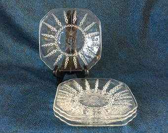 Vintage Federal Glass Columbia Bread and Butter Plates, Set of 4, Beaded Starburst Depression Glass Plates