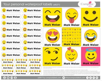 Emoji girl - puppies - Your personal waterproof labels (68 Qty) Free Shipping