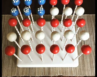 Fourth of July flag cake balls
