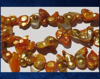 """Pearl, Golden Orange - 16"""" strand of small double baroque freshwater pearl beads.  #PERL-320"""