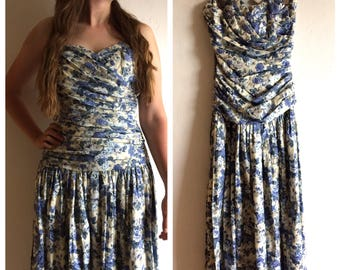 Vintage 80s floral strapless dress