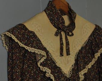 70's Gunne Sax prairie dress Edwardian/Victorian/Folk vintage calico M/L sz 11