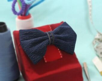 Girls Jean Bow | Cute Jean Bow | Denim Hair Bow | Women's Hair Bow 5 Inch | Girls Hair Clip Blue