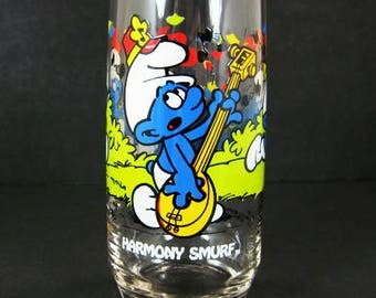 1983 Harmony Smurf 16oz Ice Tea Glass Tumbler Peyo Wallace Berrie Hardee's