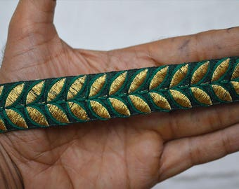 Green Trims Indian Sari Border Embroidered Ribbon Indian Laces Trim By 2 Yard Decorative Sewing Fabric Trim Craft Ribbon Trimmings