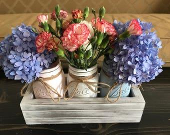 Mason Jar Center Piece- Rustic Mason Jars and Distressed Planter Box Center Piece-Fall Decor-Holiday Decor-Cottage Decor-Gift