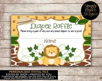 Safari Lion Baby Shower Diaper Raffle Tickets