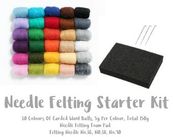 Needle Felting Starter Kit | 30 Colours Of Carded Wool Batts | Needle Felting Foam Pad | 3 Felting Needles No.36 No.38 No.40