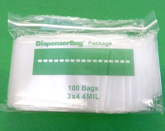"4mil Ziplock Bags 3""X4"" Reclosable Clear Thick Heavy Duty Bags 100pcs Reloc 3x4 (7E)"