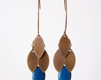 Teal and bronze navette cluster earrings