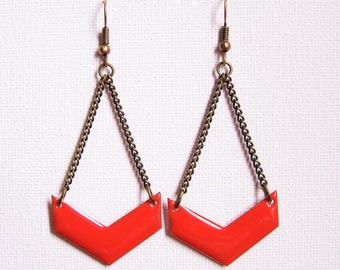Orange enameled chevron earrings