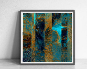 Digital print, navy blue, orange, blue, mulicolor, decor, wall art abstract, digital image, affordable wall art ,original abstract