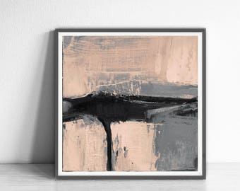 Print abstract, peach  and gray, black contemporary art, modern art, scandinavian abstract, 12x12, Gray Print, Scandinavian Design,beige