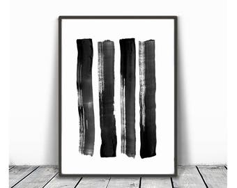 Brush Stroke Print, Black and White Abstract Wall Art, Instant Download, Printable Art, Modern Minimalist Ink Painting, Zen Home Decor