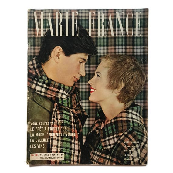 Marie France, October 1959. Sweet late 50s French ladies magazine featuring Jean Seberg and her husband on the cover.