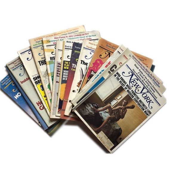 SUPER LOT! 64 copies of New York Magazine from the 1970s. Uber-kitsch instant collection.