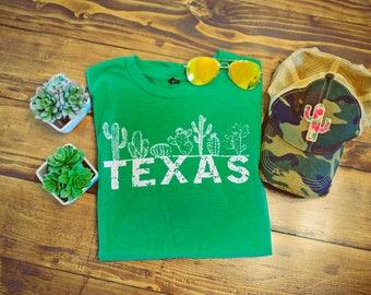 LAST ONE // Texas Cactus - Cactus - Texas - Heather Kelly Green - Crew Neck - UNISEX