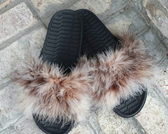 Brown Fur Slides - Mix Furry Slides - Colorful - Furry Rihanna Inspired Slides - Fluffy Slides - Custom Slides - Fashion - Black and Brown