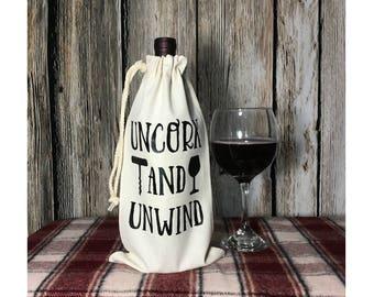 Wine Bottle Bag | Wine Gift Bag | Wine Tote | Holiday Wine Bag | Wine Christmas Gift | Wine Gift | Wine Lover|
