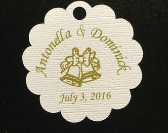 Custom Scallop Shaped Tags Set of 20 - Wedding Bells