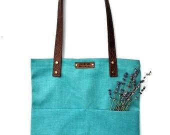 Tote Bag with Embossed Leather Handles - Ocean
