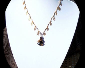 Obsidian necklace and Ruby gold plated 24 k