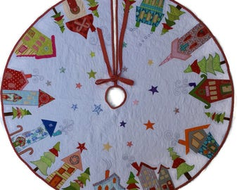 Ready to Ship, XL Appliqué Christmas Tree Skirt, Whimsical Tree Skirt, Houses, Trees, Stars, Bright Colors and Bold Designs,