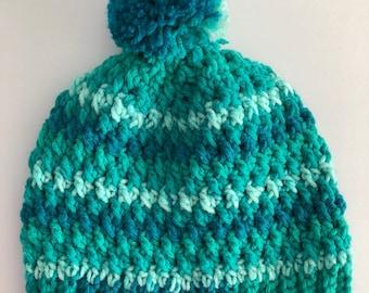 Crochet slouchy beanie hat with pompom