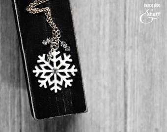 Delicate White Snowflake Pendant Necklace | Diamond and Crystal | Silver Infinity Knot Accents | Silver Chain