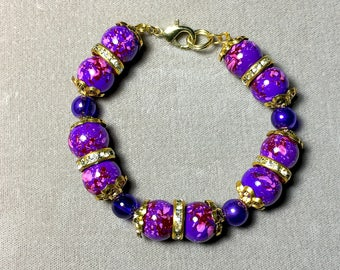 "7.75"" Painted Glass Pearl and Cubic Zirconia Bracelet"