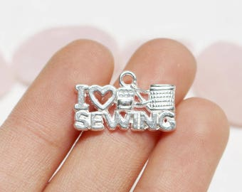 5% sale set of 75, i love sewing charm, i heart sewing charm, hobby charm, bright silver charm, 20mm x 12mm