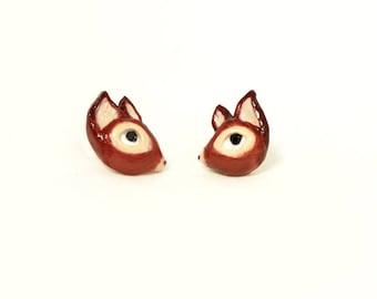 Earrings Deer (Fimo Polymer Clay) Studs Handmade