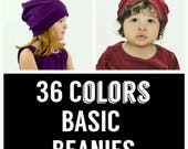 Beanies, 36 colors to choose from, toddler beanies, baby beanies, adult beanies, light weight beanies, solid beanies, striped beanies