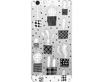 Clear cactus iPhone 7 Plus case, Cactus phone case iPhone 6 Plus succulent, Cacti iPhone 8 Plus case Transparent iPhone 6s Plus case