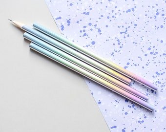 Holo Pencils, holographic pencils, holo pencil, iridescent pencil, iridescent pencils, gift pencil set, holographic pencil