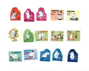 15 x Moomin used, Japanese postage stamps all off paper - Japan - Little My - Snork - for card making, invites, scrapbooking, crafts