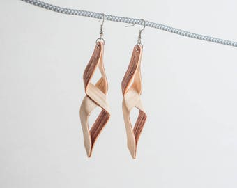 Origami Bent Wood Earrings - White Oak and Spanish Cedar - Handmade in California - Nickel-free - Finished with Mineral Oil