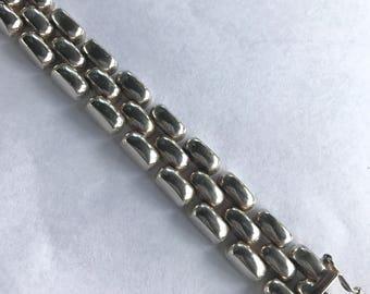 Vintage Sterling Silver Basket Weave Link Bracelet