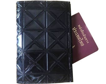 Handmade Black PVC Passport Case Cover Wallet Holder