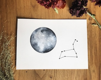 Moon and Leo Constellation. Original Painting. Watercolor.
